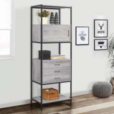 Murano Wooden Shelving Unit In Concrete Effect With Metal Frame