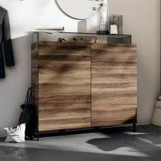 Nadine Drawers Chest In Walnut And Anthracite With Smoke Glass