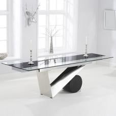 Naomi Extendable Glass Dining Table In Black And Clear