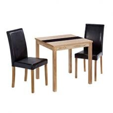Narvik Small Dining Table In Real Ash Veneer With 2 Chairs