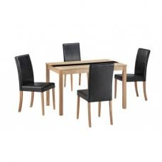Narvik 4 Seater Dining Set In Real Ash Veneer And Black Glass