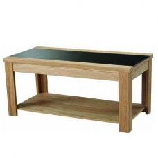 Narvik Coffee Table In Real Ash Veneer and Black Glass