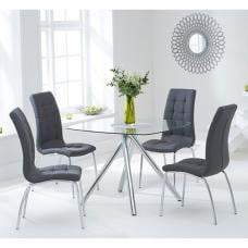 Naxis Square Glass Dining Table With 4 Gala Grey Dining Chairs