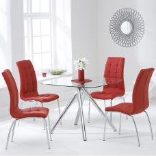 Naxis Square Glass Dining Table With 4 Gala Red Dining Chairs
