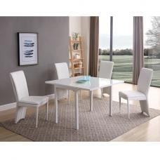 Neiva Glass Extendable Dining Set In Matt White 4 Ergo Chairs