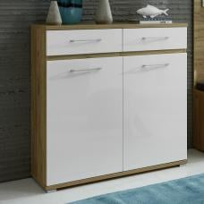 Neptune Shoe Cabinet In Navarra Oak And White High Gloss