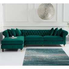 Nesta Chesterfield Left Corner Sofa In Green Velvet