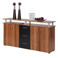 Maximo Sideboard In Walnut And Black With 4 Doors