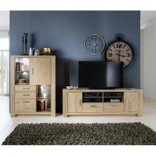 Nevara Wooden Living Room Set 2 In Bianco Oak With LED