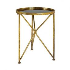 Neve Glass End Table Round In Black With Antique Gold Frame