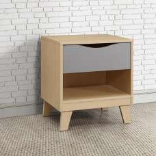 Norell Bedside Cabinet In Beech And Grey With 1 Drawer