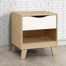 Norell Bedside Cabinet In Beech And White With 1 Drawer