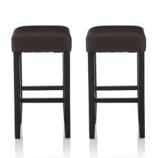 Newark Bar Stools In Brown PU And Black Legs In A Pair
