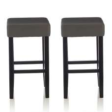Newark Bar Stools In Grey PU And Black Legs In A Pair