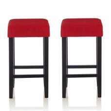 Newark Bar Stools In Red Fabric And Black Legs In A Pair