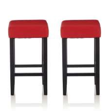 Newark Bar Stools In Red PU And Black Legs In A Pair