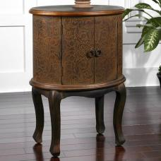 Nexus Wooden End Table In Rust Brown And Copper With 2 Doors