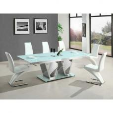 Nico Extending Glass Dining Table With 6 White Dining Chairs