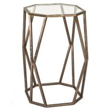 Nicole Glass Side Table In Clear With Antique Bronze Frame