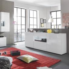 Leon Sideboard In High Gloss White With LED Lighting