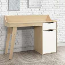 Norell Computer Desk In Beech And White With 1 Door
