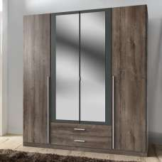 Norell Mirrored Wardrobe Large In Muddy Oak Effect And Graphite