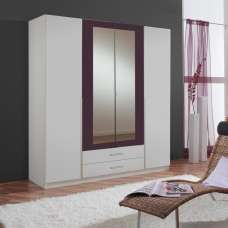 Norell Mirrored Wardrobe Large In White And Blackberry