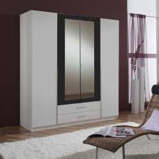 Norell Mirrored Wardrobe Large In White And Graphite