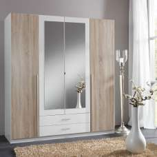 Norell Mirrored Wardrobe Large In White And Oak Effect