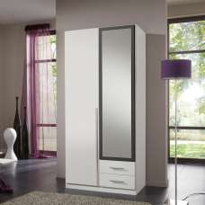 Norell Mirror Wardrobe In White And Graphite With 2 Doors