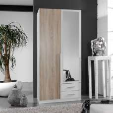 Norell Mirrored Wardrobe In White And Oak Effect With 2 Doors