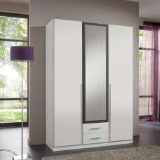 Norell Mirrored Wardrobe In White And Graphite With 3 Doors