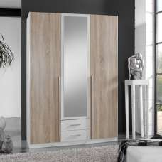 Norell 3 Doors Mirrored Wardrobe In White And Oak Effect