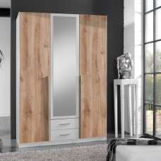Norell 3 Doors Mirrored Wardrobe In White And Planked Oak Effect