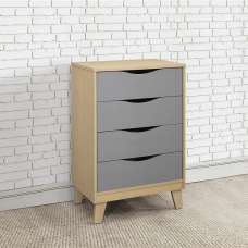 Norell Chest Of Drawers In Beech And Grey With 4 Drawers