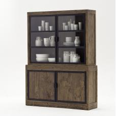 Norfolk Display Cabinet Pine Antique Brown With Shelves