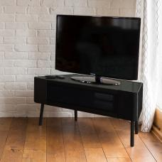 Norvik Corner TV Stand In Black High Gloss With Glass Door