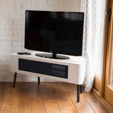 Norvik Corner TV Stand In White High Gloss With Glass Door