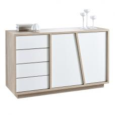 Nova Sideboard In Brushed Oak And White Pearl With 2 Doors