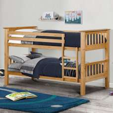 Novaro Wooden Bunk Bed In Antique Pine With Ladder