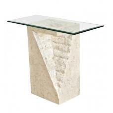Numerati Glass Console Table Rectangular In Mactan Stone