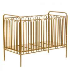 Nutkin Vintage Metal Baby Cot Bed In Gold