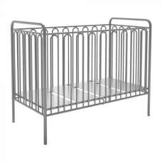 Nutkin Vintage Metal Baby Cot Bed In Silver