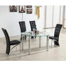 Oasis Round Extending Glass Dining Table And 4 Black Chairs