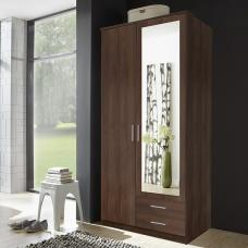 Octavia Mirror Wardrobe In Walnut With 2 Doors