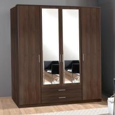 Octavia Mirrored Wardrobe In Walnut With 4 Doors