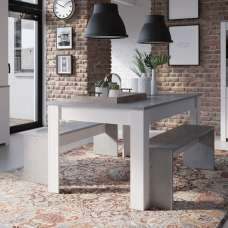 Odelia Dining Table Set In Woodcorn Concrete And Pearl White