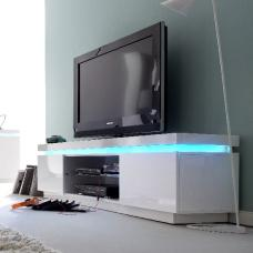 Odessa 2 Door Lowboard Tv Stand in High Gloss White With LED