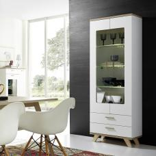 Ohio Glass Display Cabinet In Sanremo Oak And White With LED