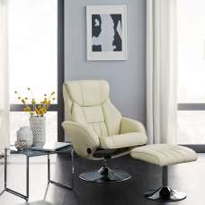 Olten Contemporary Recliner Chair In Cream Faux Leather